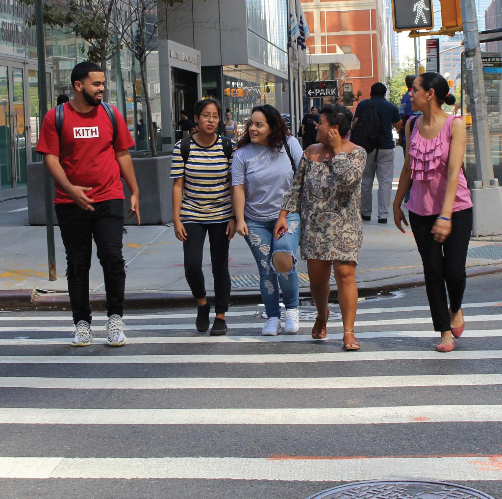 Five Hispanic John Jay Students crossing the street
