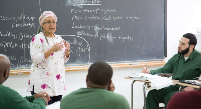 Professor Jessica Gordon- Nembhard teaching Africana Studies 121 at Otisville.